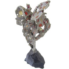 Lead Abstract Sculpture with Obsidian Base and Agate Inserts