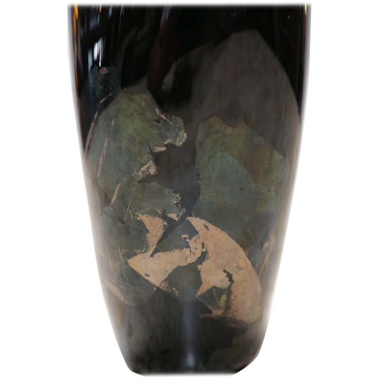 Organic Black Glass Vase with Iridescent Overlay