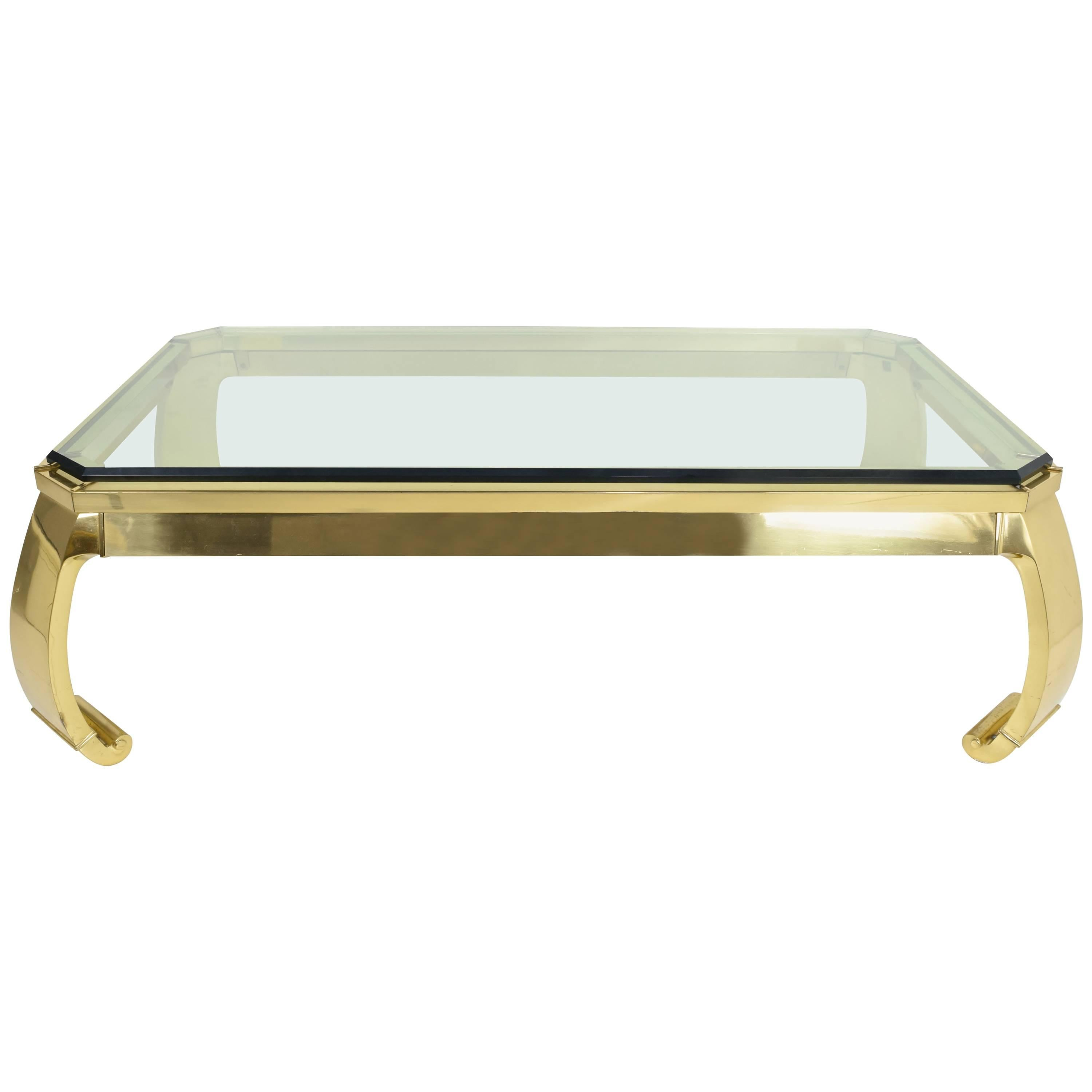 Karl Springer Style Brass Coffee Table At 1stdibs