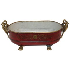 Red Tole Empire Style Cachpot, French, 19th Century