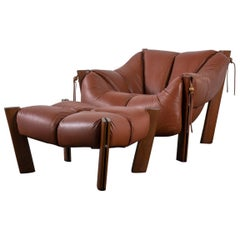 Brazilian Modern Lounge Chair and Ottoman by Percival Lafer