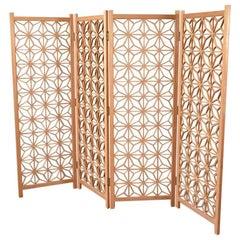 Four Panel Mahogany Folding Screen