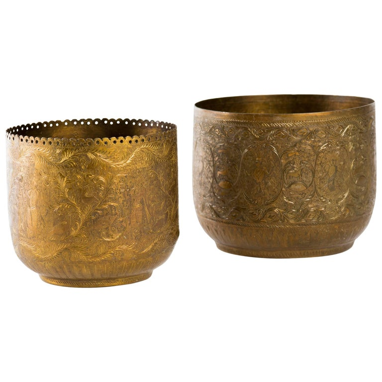 Antique Indian Engraved Brass Jardiniere Vessels For Sale