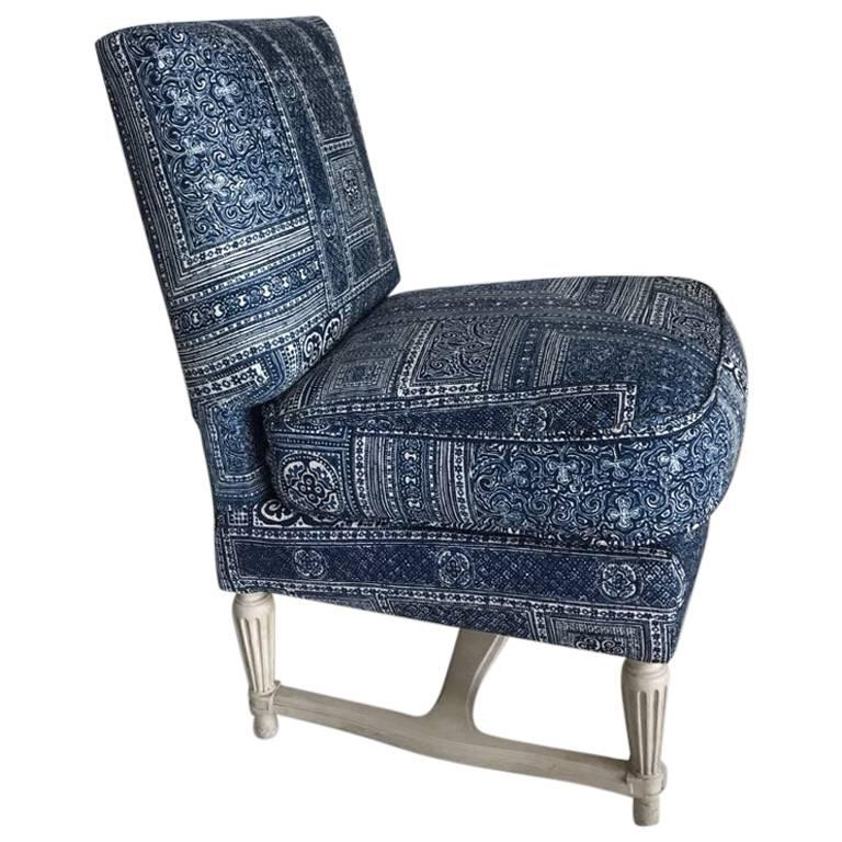 Beautiful Slipper Chair, Upholstered In Ralph Lauren Paisley Frabic For Sale