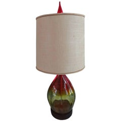 Stunning Amberina Orange Red Blenko Lamp, Mid-Century Modern
