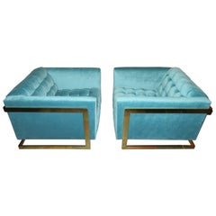 Magnificent Pair of Milo Baughman Brass Cube Lounge Chairs, Mid-Century Modern