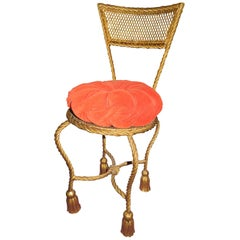 Lovely Petite Gilded Gold Rope Tassel Vanity Chair Stool Hollywood Regency
