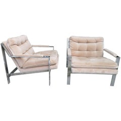 Pair of Milo Baughman Style Chrome Flat Bar Lounge Chairs, Mid-Century Modern