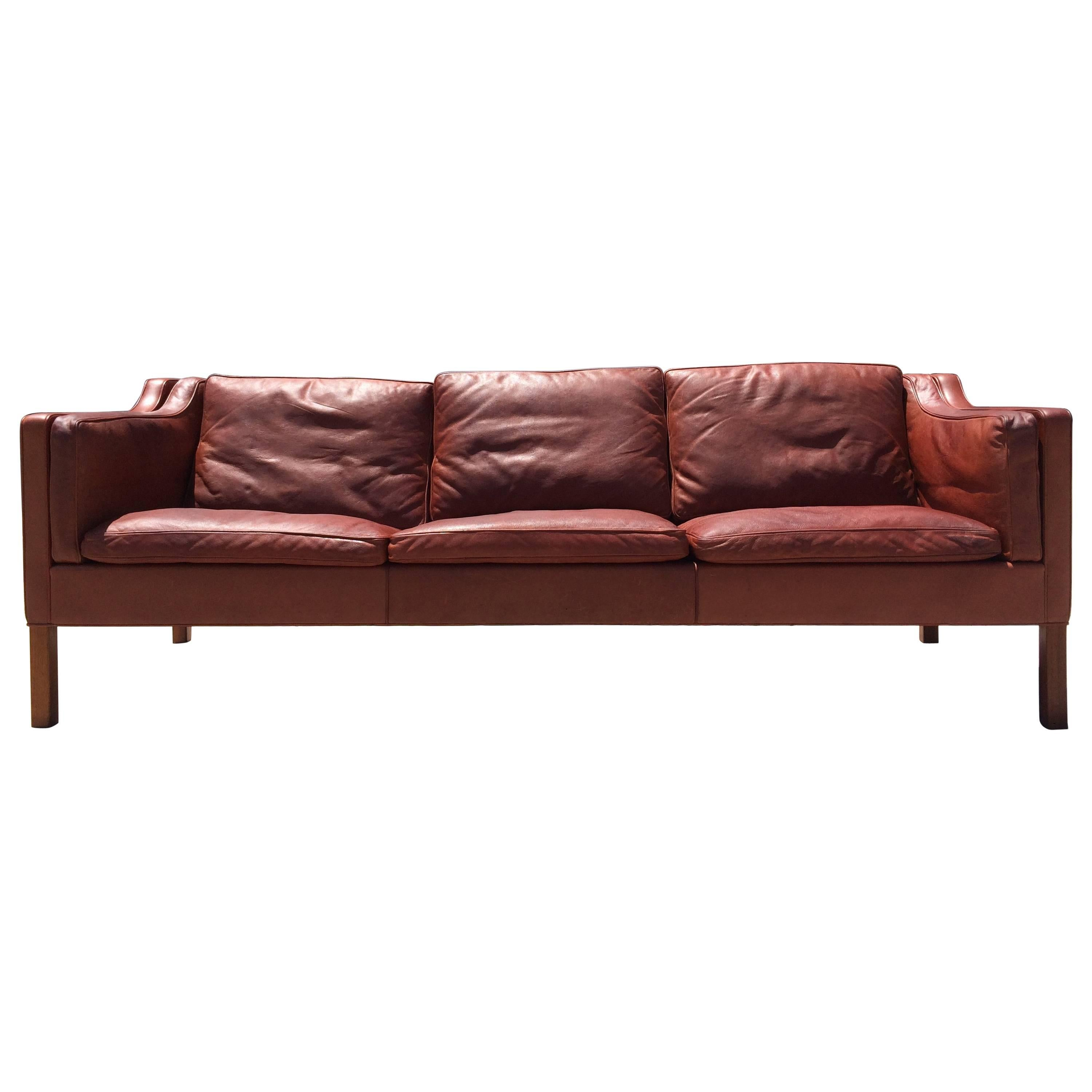 beautiful cognac leather sofa by brge mogensen