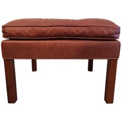 Beautiful Cognac Leather Ottoman by Børge Mogensen
