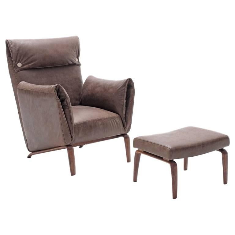 Goia Armchair and Foot Stool, Contemporary Leather Armchair