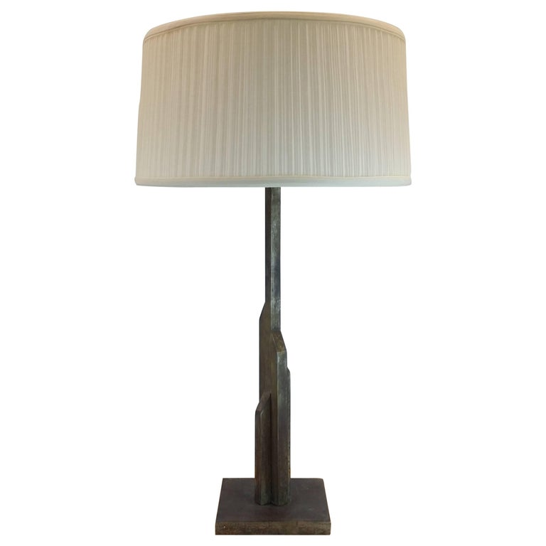 Large Skyscraper Style Table Lamp in the Manner of Jules Bouy