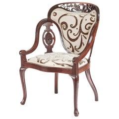 Unusual Carved Mahogany Armchair
