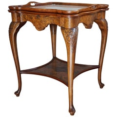 Early 20th Century Chippendale Style Burl Walnut Drinks Table and Tray by Pander