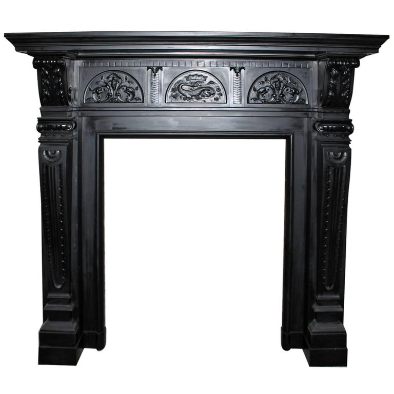 Black marble fireplace mantel 19th century for sale at for Marble mantels for sale