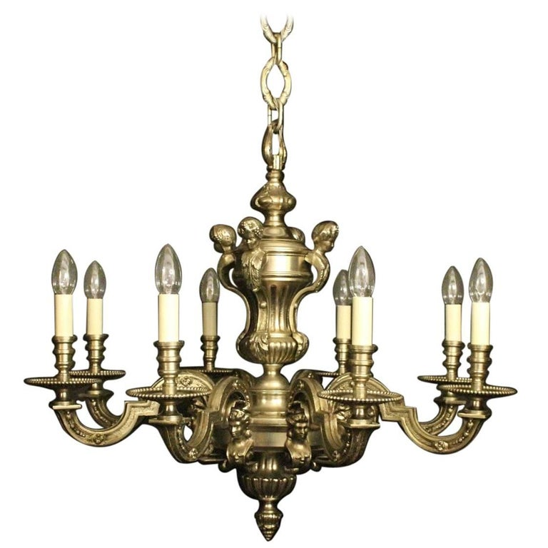 French Silver Gilded Eight-Light Antique Chandelier
