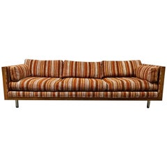 Stunning Rosewood Even Arm Cube Sofa by Milo Baughman