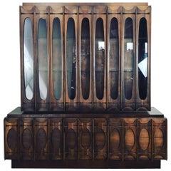 Monumental Brutalist Cabinet, Classic Mid-Century Manner of Paul Evans