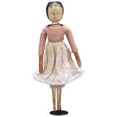 19th Century Painted Wooden Peg Doll