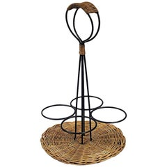 Metal Bottle Holder in Rattan and Lacquered Metal, circa 1950-1960
