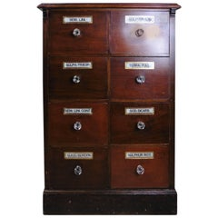 19th Century Chemist Drawers, Eight-Drawer Mahogany Pharmacists Cabinet
