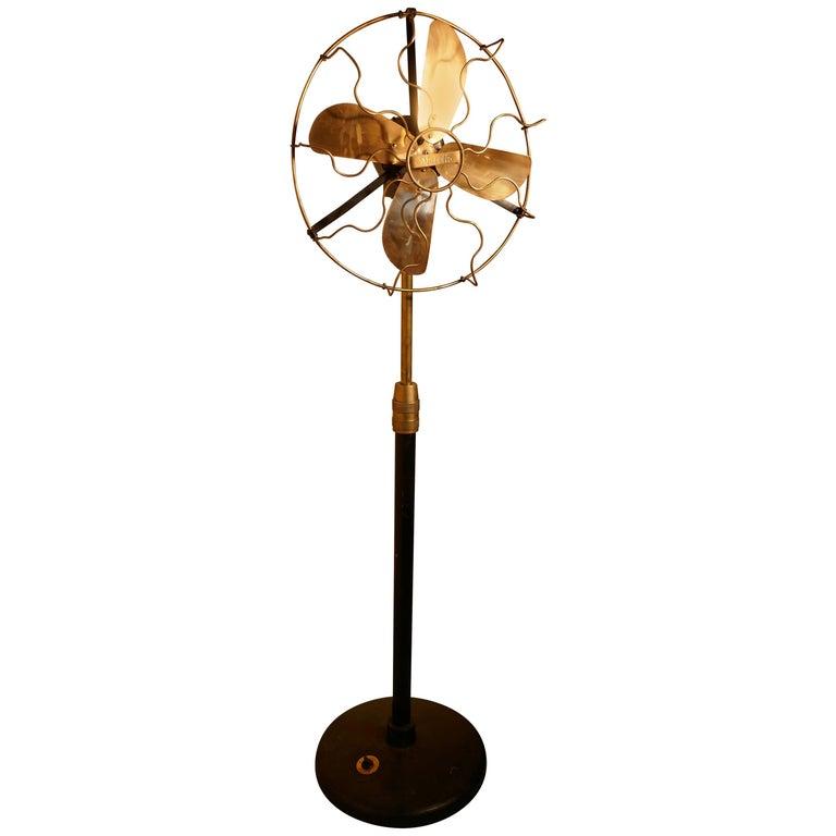 Vintage Pedestal Fan : Brass electric telescopic pedestal fan by mirelli