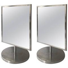 Two 1970s Italian Vanity Mirrors in Steel Frame