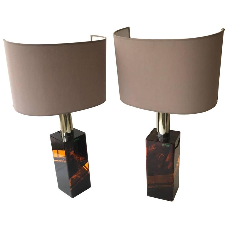 Italian, 1970s Pair of Lucite Table Lamps