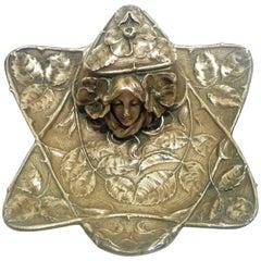 E. Finck, an Art Nouveau Gilt Bronze Inkwell, Signed
