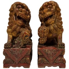 Pair of 19th Century Carved Wood Lacquered and Gilt Chinese Foo Dog Figures
