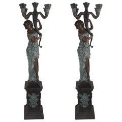 "Impressive Pair of Bronze Lady ""Torchere"" Floor Lamps"