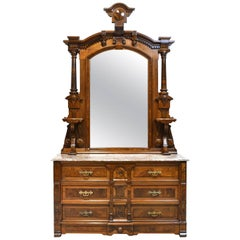 American Aesthetic Movement Walnut Vanity with Mirror and Marble Top, circa 1870