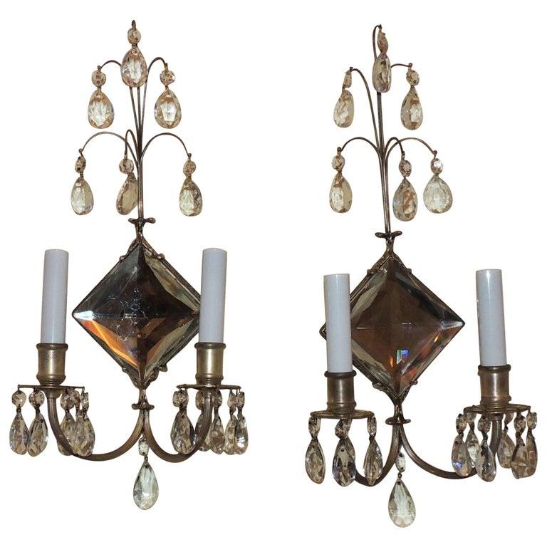 Wonderful Pair Diamond Crystal Mirror Silvered Bronze Two-Arm Caldwell Sconces