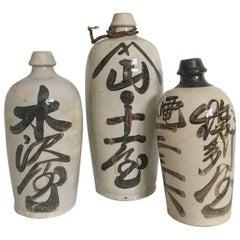 19th Century Japanese Calligraphy Sake Bottles, Set of Three