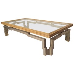 Rare Bamboo Glass Coffee Table