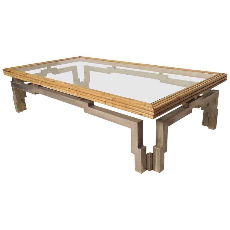 Rare Bamboo Glass Coffee Table For Sale At 1stdibs