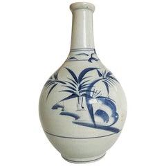 19th Century Antique Japanese Blue and White Sake Bottle
