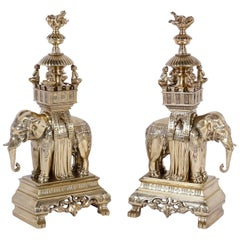 19th Century Anglo Indian Pair of Brass Elephant Garnitures or Chenets