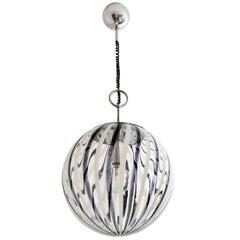 Murano Black and White Glass Globe Pendant Light, 1970s
