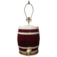 English Royal Victoria Spirit Barrel Adapted as a Lamp, Early 20th Century