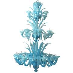 """Extraordinary Murano Chandelier """"Queen Turquoise"""", 1980s"""