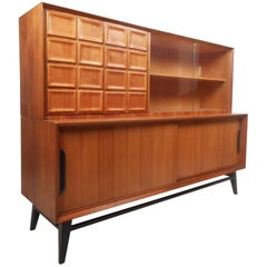 Mid-Century Modern Teak Sideboard with Display Topper
