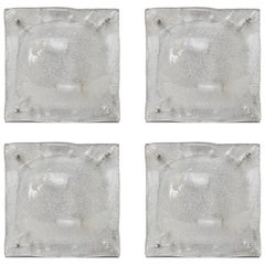 Set of Four Murano Glass and Polished Chrome Square Wall Sconces