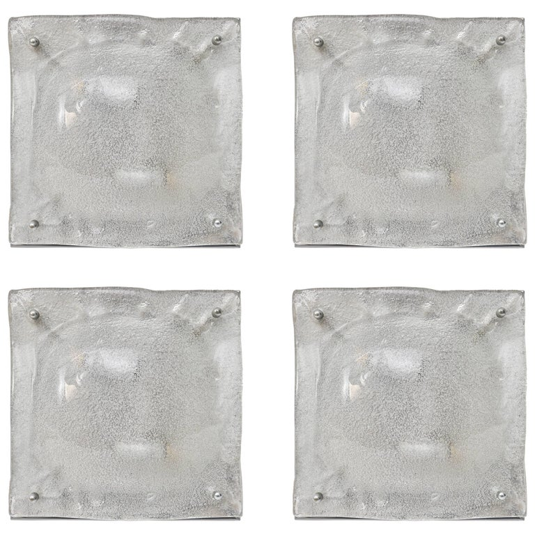 Set of Four Mazzega Murano Glass and Polished Chrome Square Wall Sconces For Sale