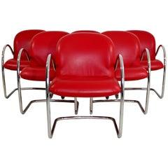 Mid-Century Modern Set of Six Brueton Dining Armchairs, Baughman