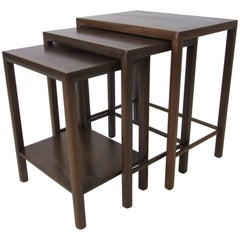 Harvey Probber Styled Rose Wood and Walnut Nesting Tables