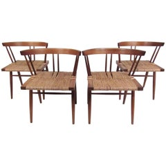Set of George Nakashima Grass Seat Dining Chairs