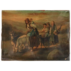 Antique European Oil on Canvas Painting of Traveling Peasant Mother and Children
