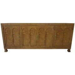 Mastercraft Burl Wood Credenza or Server in the Style of Hollywood Regency