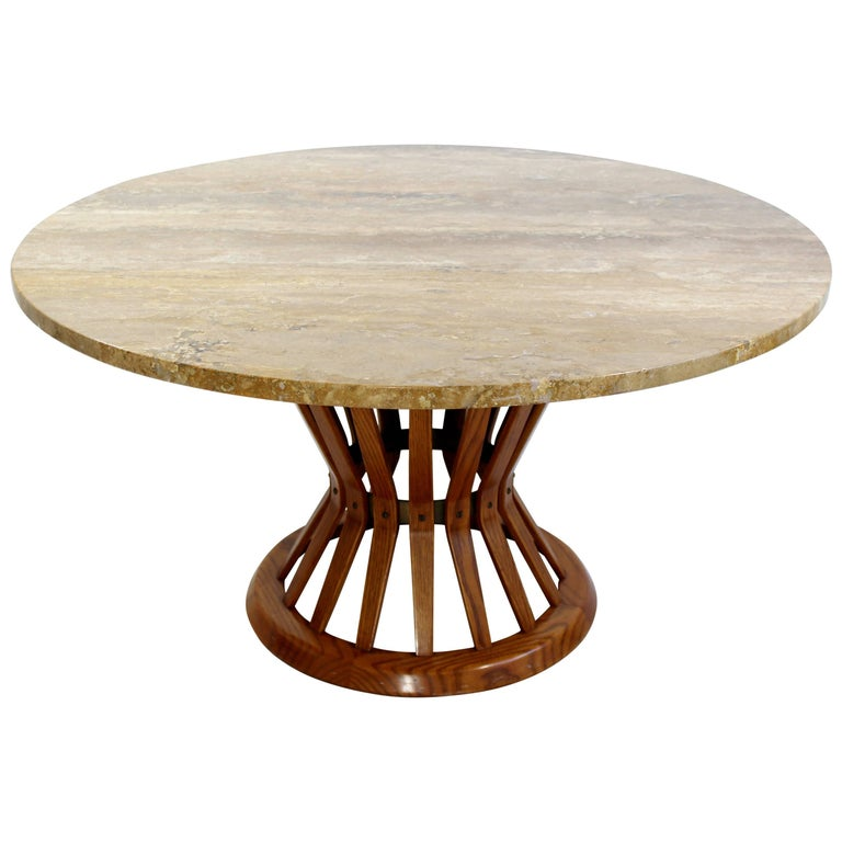 d005de0f0fd9 Mid-Century Modern Dunbar Wheat Sheaf Marble and Wood Round Coffee Table  For Sale